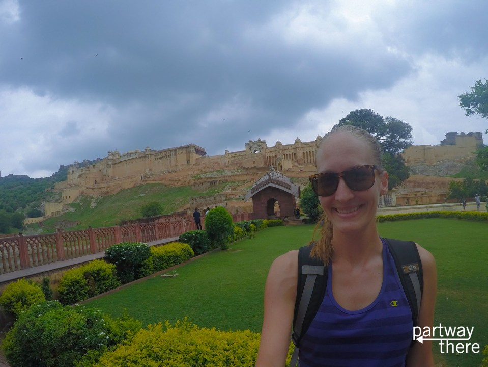 Amanda Plewes outside a fort in Jaipur
