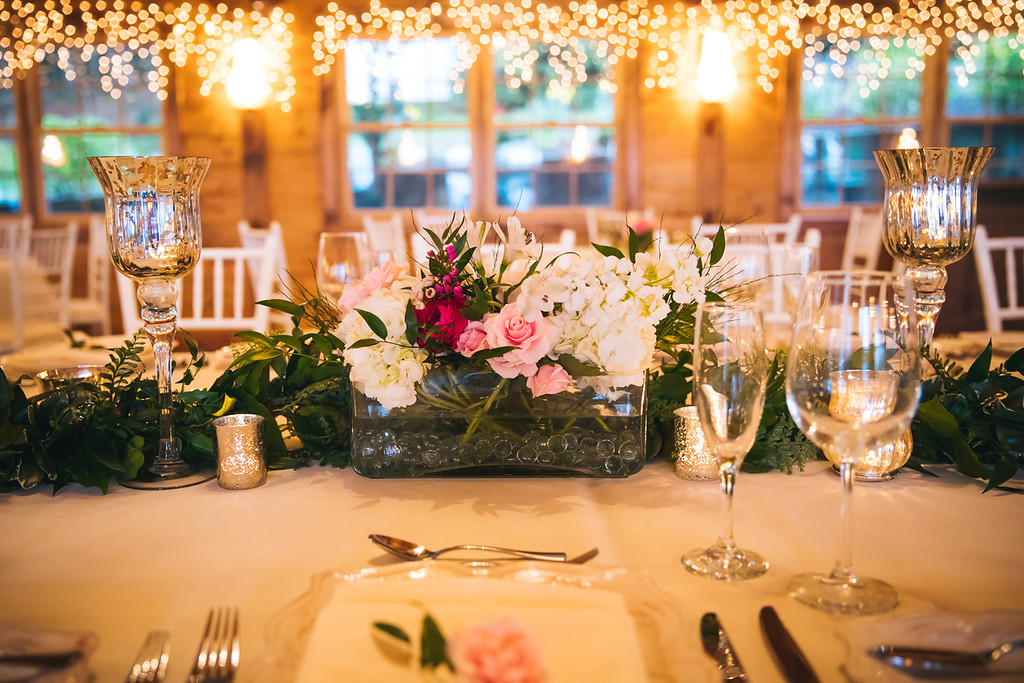low long glass vases on table