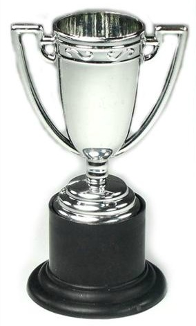 With this silver trophy (9.5cm high) everyones a winner. Essential party game prize.