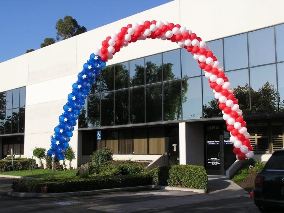 Patriotic balloon arch