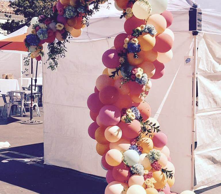 Organic arch with flowers