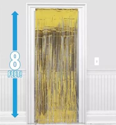 gold fringe doorway curtain