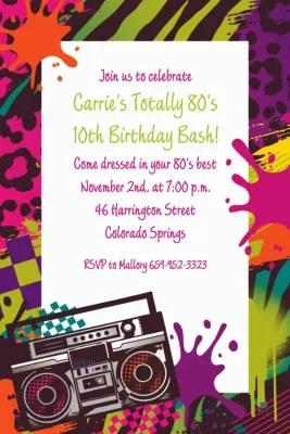 custom totally 80s invitations