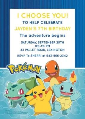 custom pokemon classic invitations