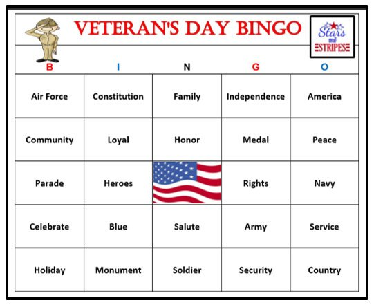 Veterans Day Printable Games Patriotic Holidays