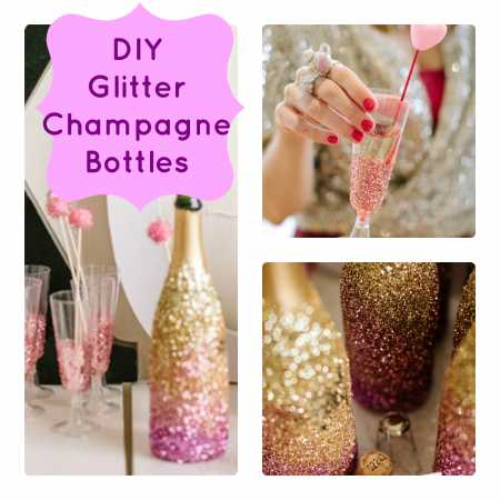 diy glittered champagne bottles party ideas