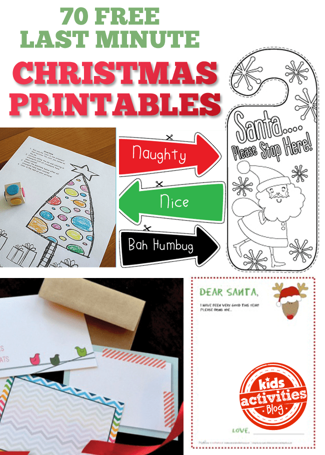 70 free last minute christmas printables party ideas for Printable christmas craft ideas