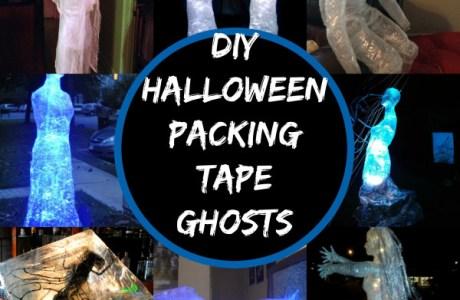 DIY Packing Tape Halloween Ghosts