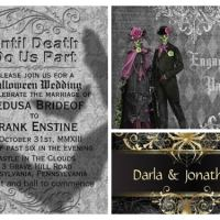 Black Silver Halloween Wedding Invitations