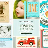 Cute Baby Boy 1st Birthday Party Invitations