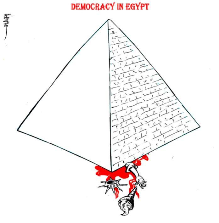 democracy in egypt cartoon
