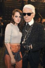 Kirsten Stewart & Karl Lagerfeld at the Chanel Paris-Dallas Collection 2013