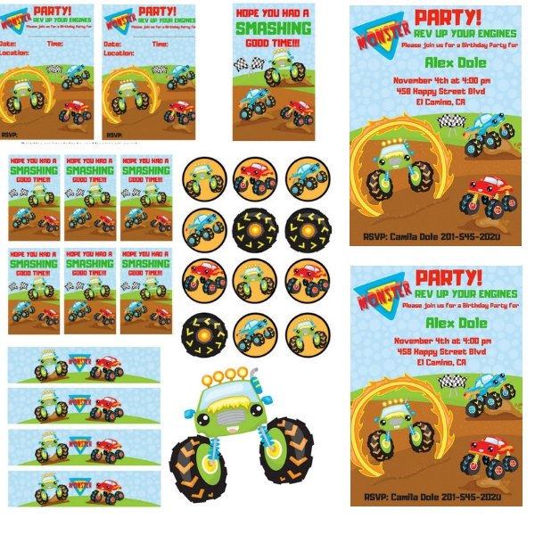 picture about Monster Truck Birthday Invitations Free Printable identify Cost-free PRINTABLE Monster Truck Birthday Celebration - PARTYLOVIN