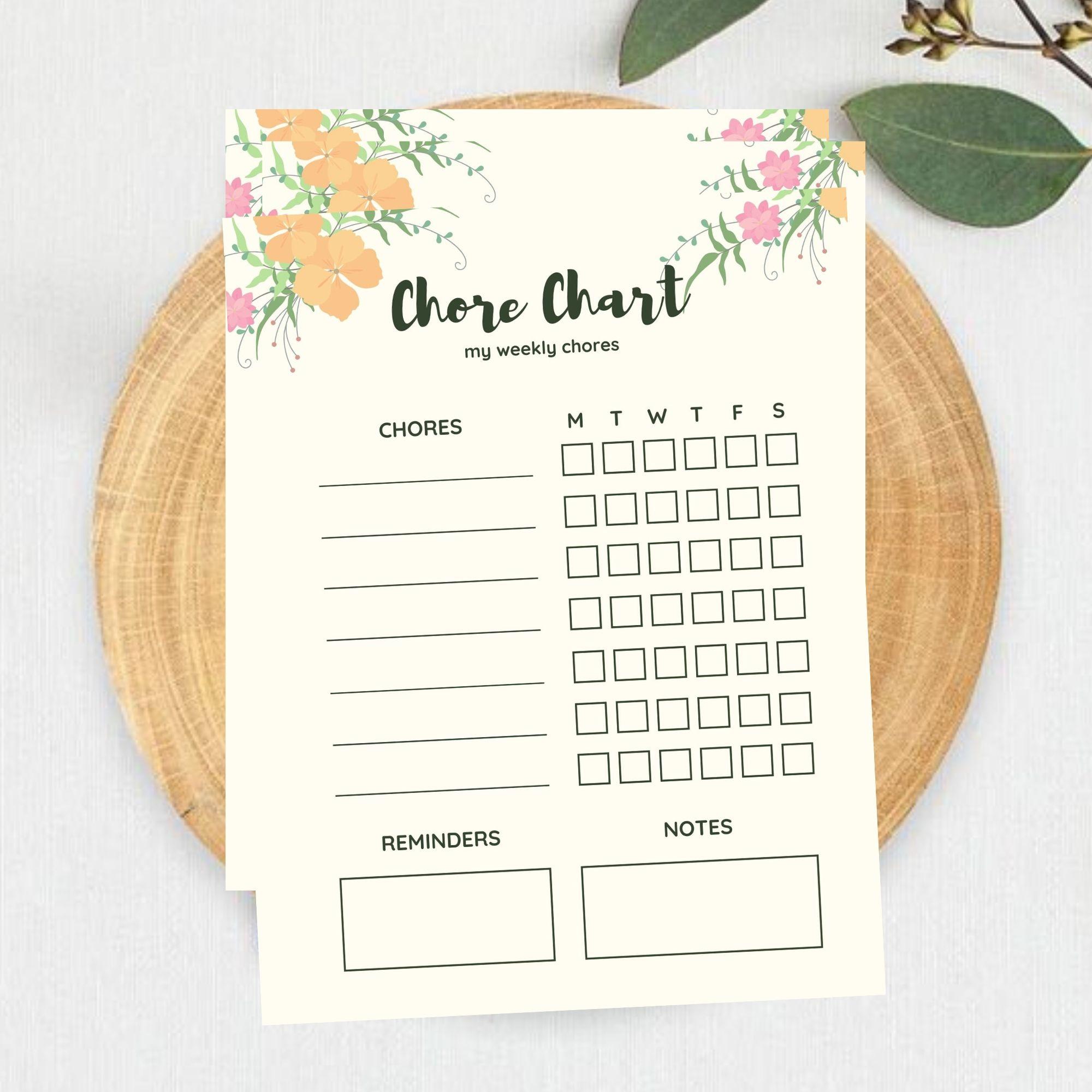 FREE Printable My Chore Chart Printable