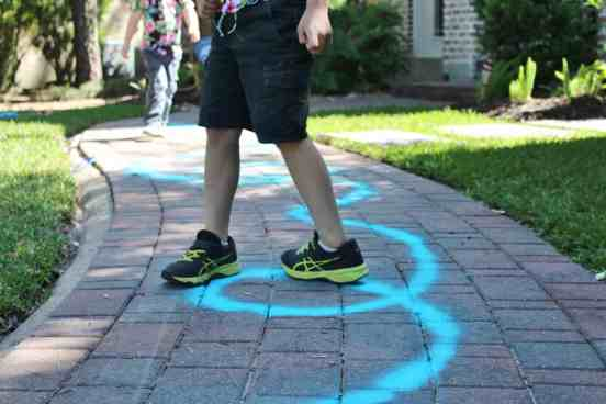 Follow the line game using spray chalk
