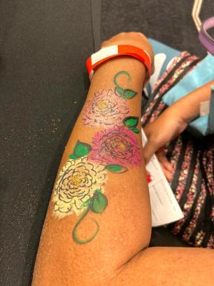Flowers Glitter Hand Painting