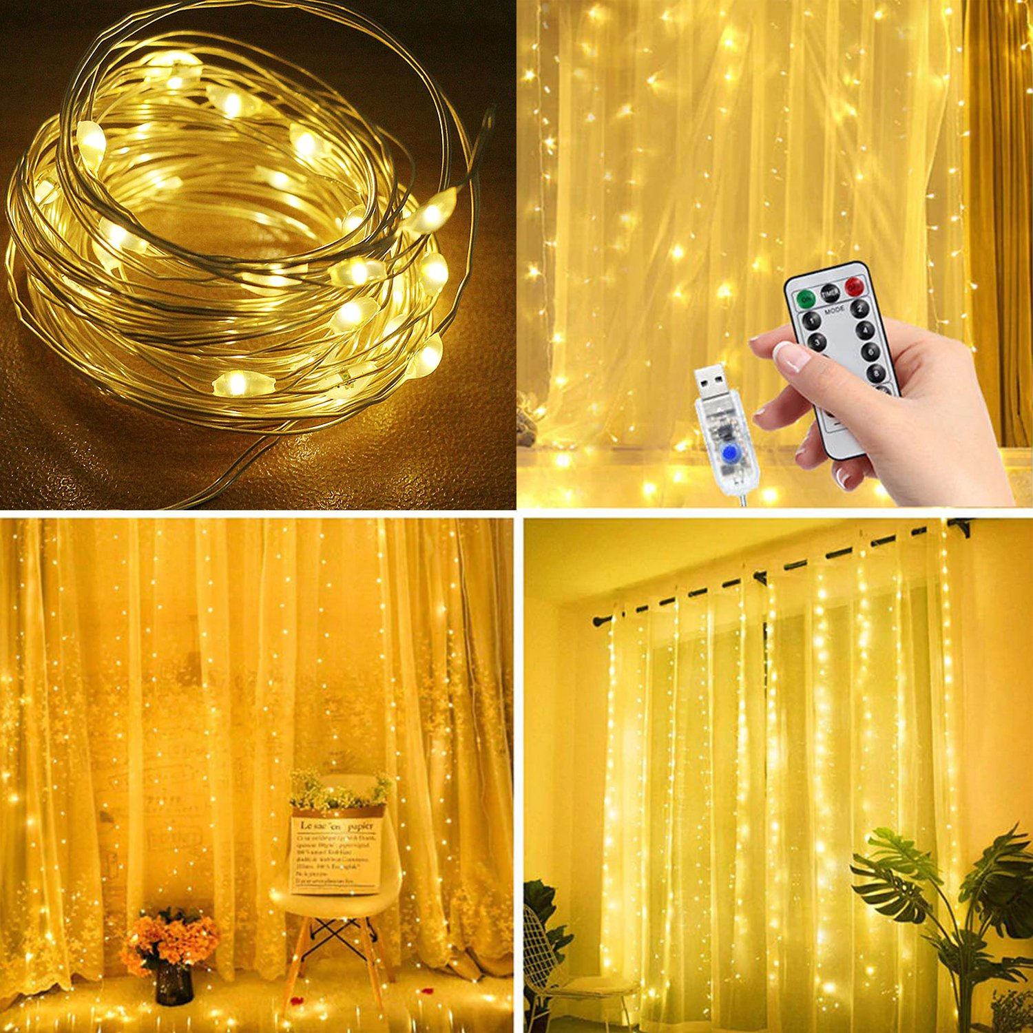 300 led waterproof curtain light with hooks 3mx3m fairy string lights with timer 8 modes adjustable brightness usb plug remote control for bedroom