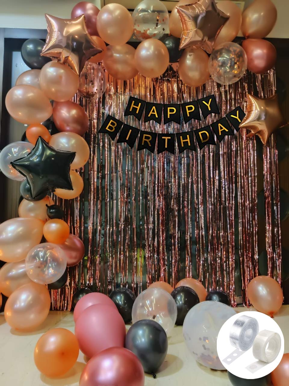 rose gold birthday decorations combo black banner with confetti balloons star foil balloons foil curtain for 1st 18th 21st 25th 30th 50th 60th