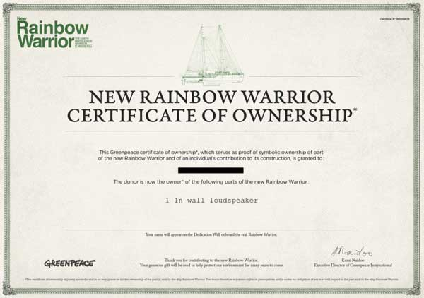 certificate greenpeace rainbow warrior donation ship lautsprecher