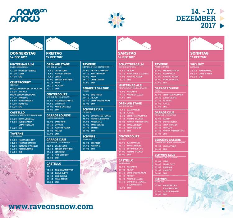 Rave on Snow Lineup Timetable, SetTimes, Spielzeiten