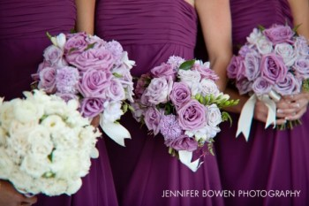 African Violet Purple Bouquets Paired with Dark Violet Dresses