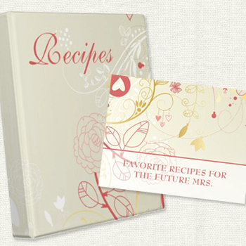Pink Gold Recipe Binder and Recipe Card for the Bride