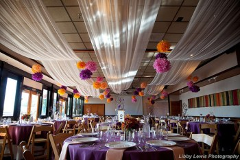 Orange and Purple Wedding Reception