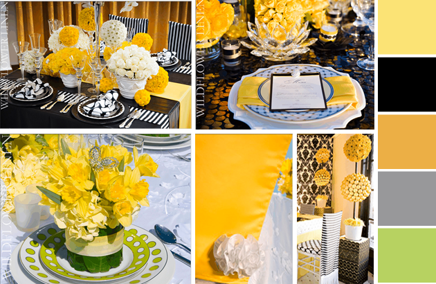 Lemon Zest and Sunflower Wedding Ideas - table settings