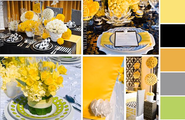 Lemon Zest and Sunflower Wedding Ideas - table settings