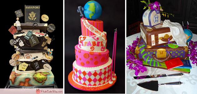 Travel Themed Bar and Bat Mitzvah cakes