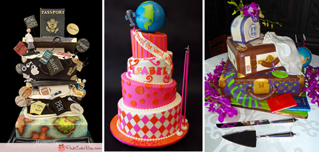 Travel Themed Bar and Bat Mitzvah cakes