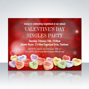Candy Hearts Valentines Day Singles Party Invitations