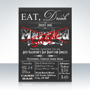 Eat Drink & Be Single Chalkboard Singles Party Invitations