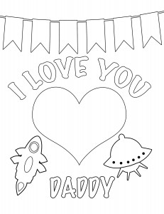 I love you daddy Valentines Day coloring page