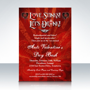 Love Stinks Lets Drink Anti Valentines Day Party Invitations