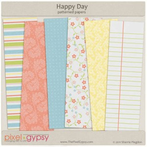 PixelGypsy-Happy Day Floral Baby Shower Free Scrapbooking Pages Printables