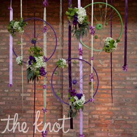 bicycle wheel wedding decor from The Knot