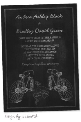 Bicycle Wedding Trend | Chalkboard Bicycle Wedding Invitation by Wasootch
