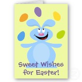 Sweet wishes for Easter card with Easter bunny juggling jelly beans