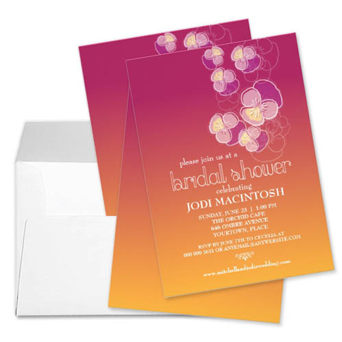 Cascading Flowers Purple Pink Orange Ombre Bridal Shower Invitation