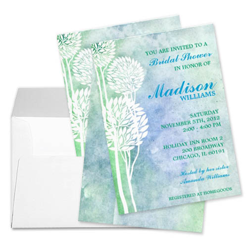 Green and Blue Ombre Trees Personalized Bridal Shower Invite