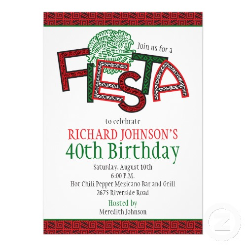 Mexican Fiesta Aztec Birthday Party Invitation