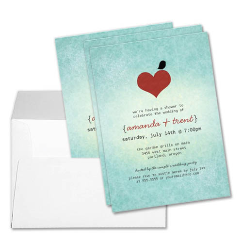 Modern Aqua and Red Ombre Heart Lovebird Couples Bridal Shower Invitation