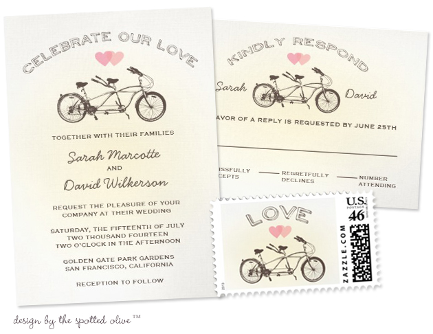 Bicycle Wedding Trend | Tandem Bicycle Wedding Invitations by The Spotted Olive™