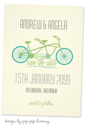 Bicycle Wedding Trend | Tandem Bicycle Wedding Save The Date by Pip Pip Hooray