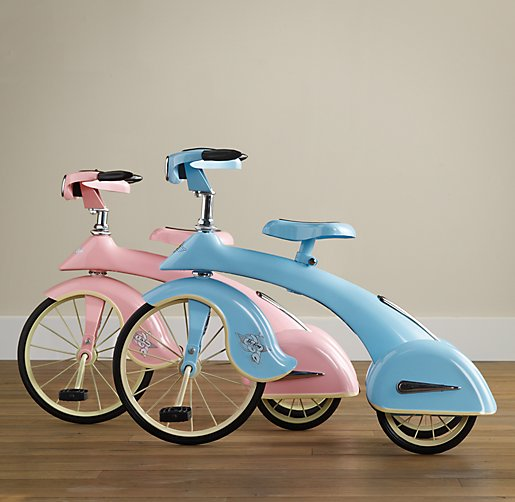 blue and pink tricycles