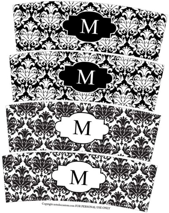 black and white damask wedding votive candle wraps freebie printable