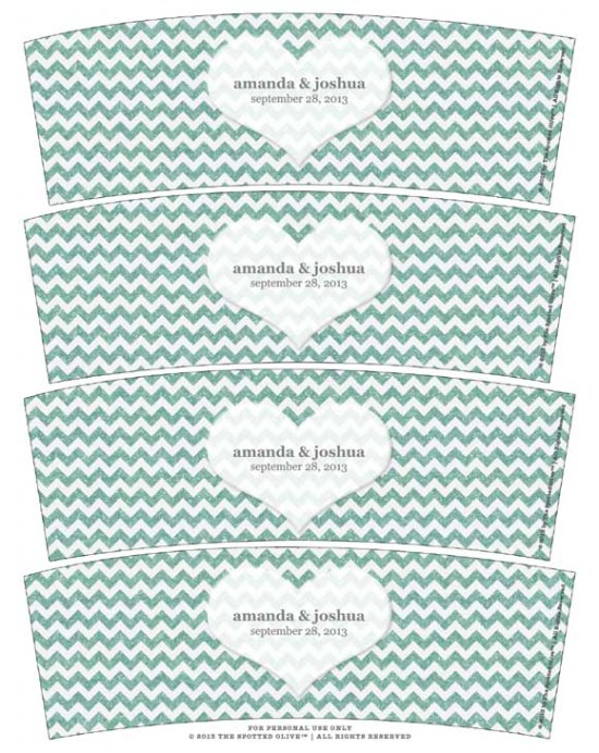 Mint green sparkle chevron heart wedding votive candle wraps freebie printable