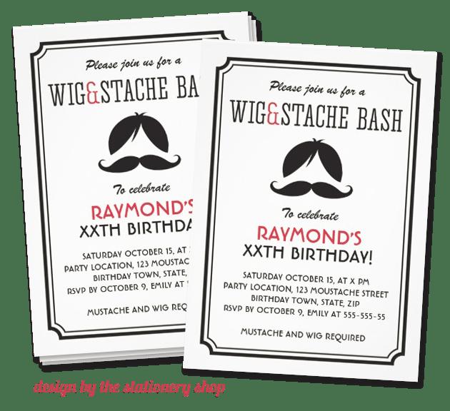 mustache bash invitation   mustache trend