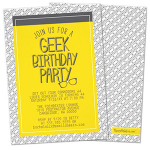 yellow grey glasses geek theme personalized birthday party invitation